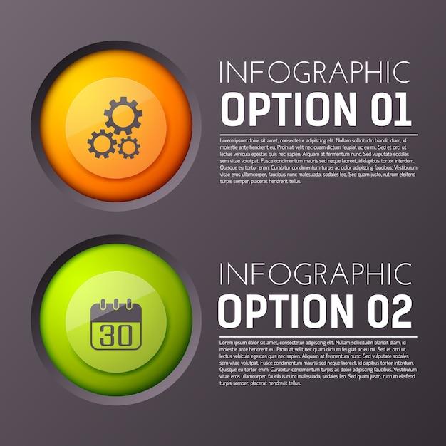 Infographie Avec Deux Paragraphes D'options De Texte Modifiable Et Icône De Cercle Appropriée Vecteur gratuit