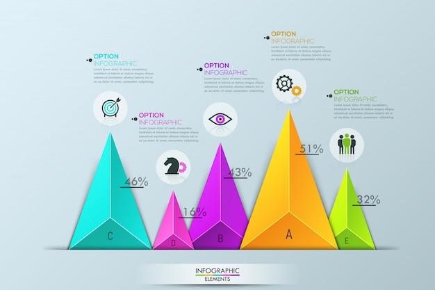 Infographie, diagramme à barres avec 5 éléments triangulaires multicolores distincts Vecteur Premium