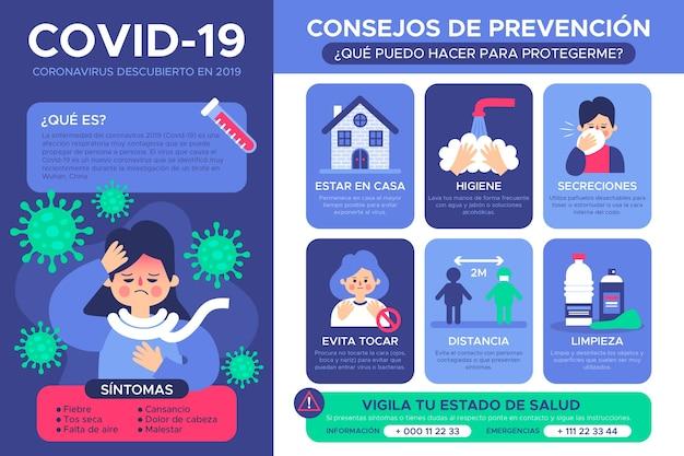 Infographie Du Coronavirus Avec L'espagnol Vecteur gratuit