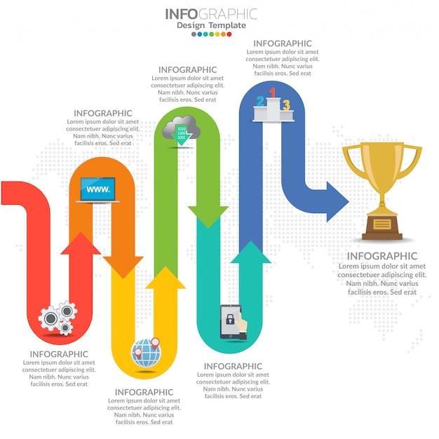 Infographie du flux de travail de la chronologie des affaires Vecteur Premium