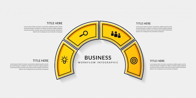 Infographie du flux de travail avec quatre options Vecteur Premium