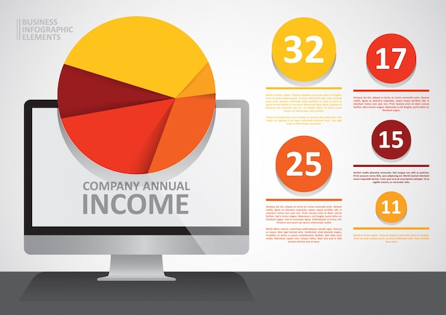 Infographie Du Revenu Annuel De L'entreprise Vecteur Premium