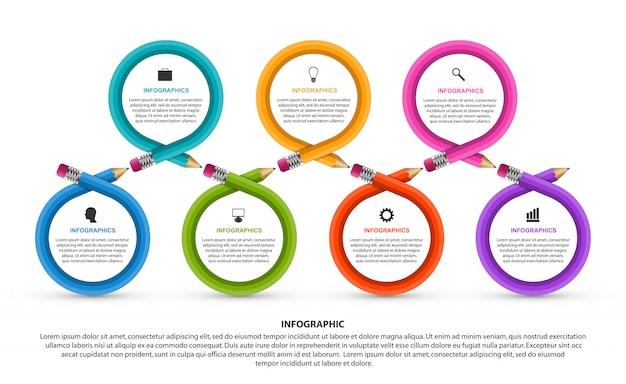 Infographie éducative avec sept étapes et des crayons colorés. Vecteur Premium