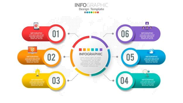 Infographie élément De Couleur En 6 étapes Avec Diagramme Graphique De Cercle, Conception De Graphique D'entreprise. Vecteur Premium