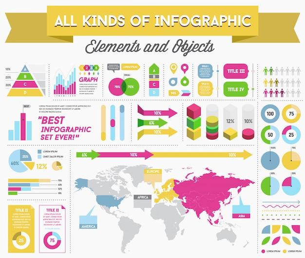 Infographie elements and objects big huge set Vecteur Premium