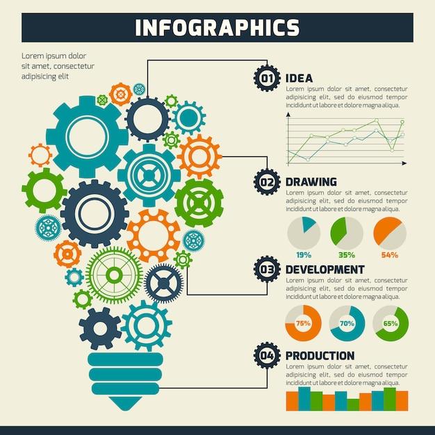 Infographie engrenage Vecteur gratuit