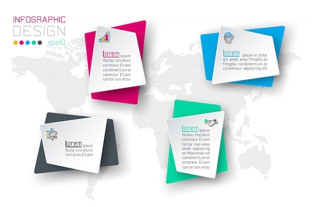 Infographie de l'entreprise avec 4 étiquettes. Vecteur Premium