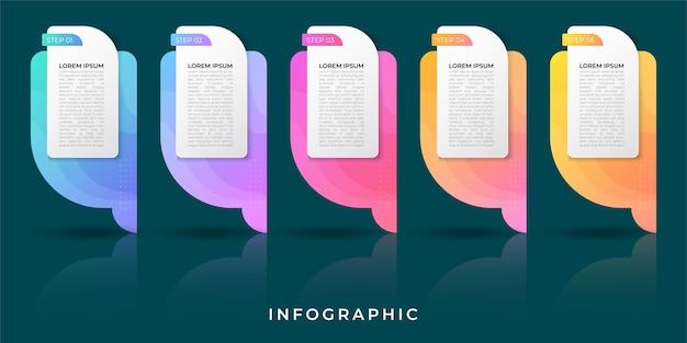 Infographie De L'entreprise. Chronologie Avec 5 étapes, étiquettes. élément D'infographie De Vecteur. Vecteur gratuit