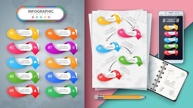 Infographie de l'entreprise. maquette pour votre idée. Vecteur Premium
