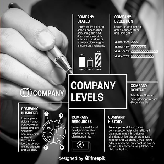 Infographie de l'entreprise moderne avec photo Vecteur gratuit