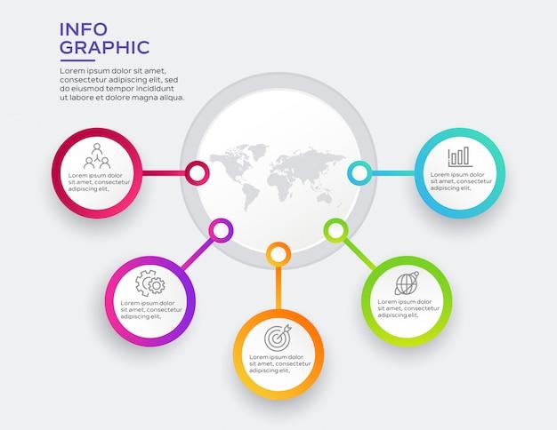 Infographie des entreprises avec 5 options Vecteur Premium
