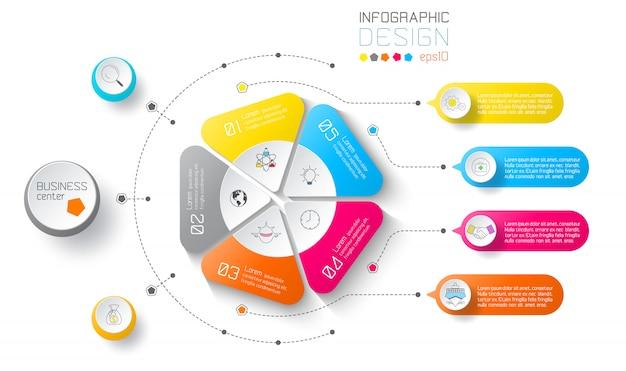 Infographie des étiquettes commerciales sur les cercles et la barre verticale. Vecteur Premium