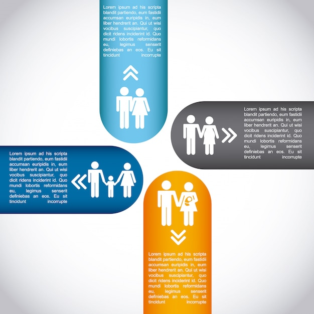 Infographie familiale Vecteur Premium