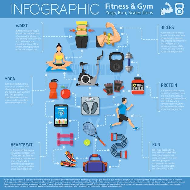 Infographie de fitness et de gym Vecteur Premium