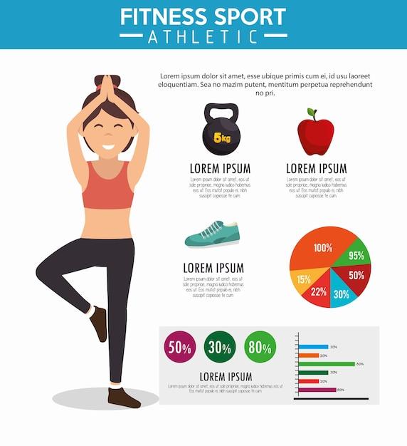 Infographie Fitness Sport Athlétique Vecteur Premium