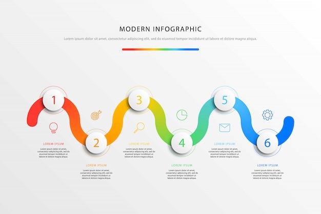 Infographie De Flux De Travail Chronologie D'entreprise Avec Six éléments Ronds 3d Réalistes. Vecteur Premium