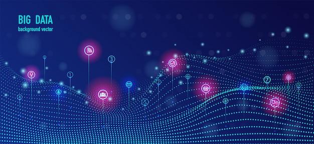 Infographie futuriste de flux de données volumineuses. Vecteur Premium