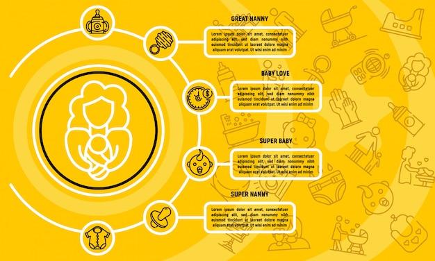 Infographie de garde d'enfants, style de contour Vecteur Premium