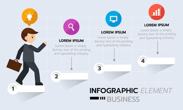 Infographie graphique d'entreprise, étape de la réussite. modèle d'infographie de la chronologie. Vecteur Premium