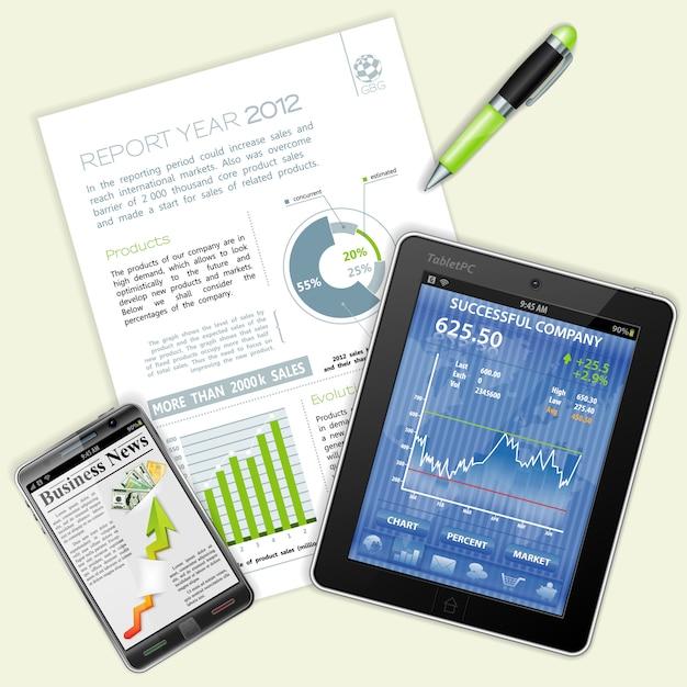 Infographie, Graphiques Et Nouvelles Sur Les Affaires Vecteur Premium