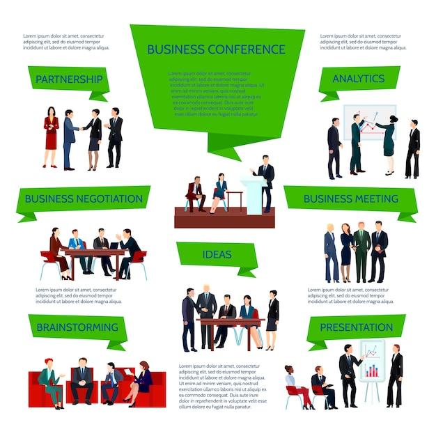 Infographie de groupe de gens d'affaires lors de la planification du briefing de conférence Vecteur gratuit