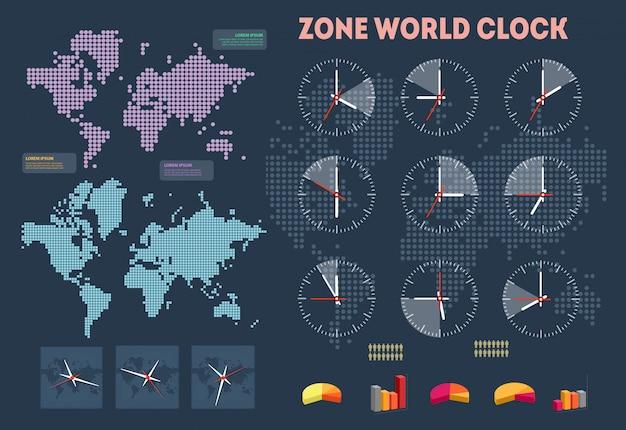 Infographie de l'heure mondiale Vecteur Premium