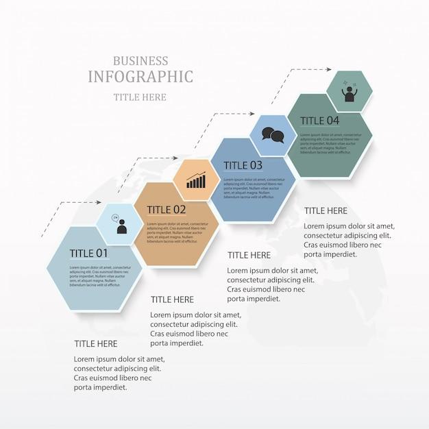 Infographie hexagone 4 option ou étapes et icônes pour le concept d'entreprise. Vecteur Premium