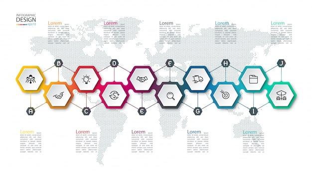 Infographie avec hexagones sur la carte Vecteur Premium