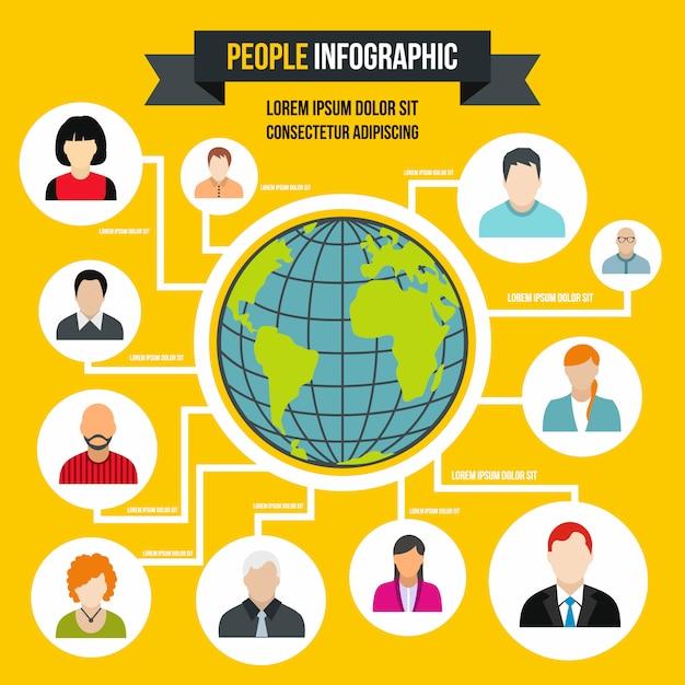 Infographie humaine dans un style plat. personnes infographiques pour n'importe quelle conception Vecteur Premium