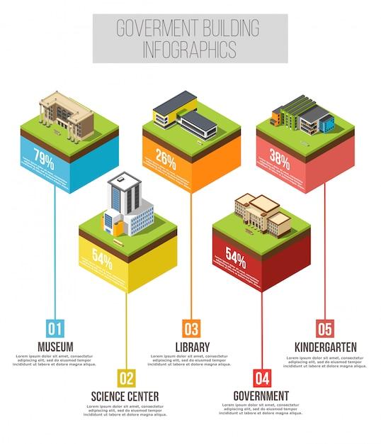 Infographie isométrique du bâtiment administratif Vecteur gratuit