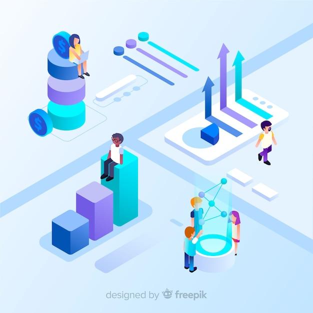 Infographie isométrique avec des graphiques et des personnes Vecteur gratuit