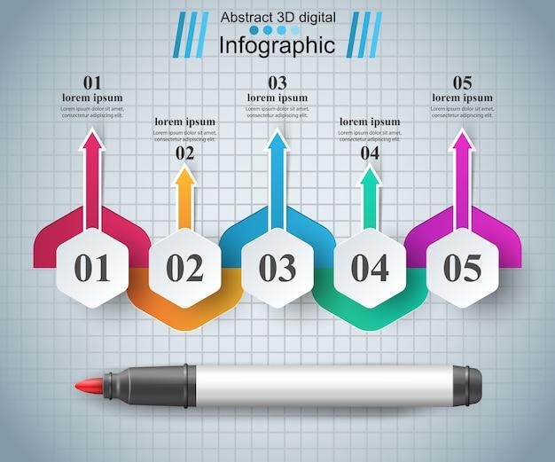 Infographie de marqueur de style origami. Vecteur Premium