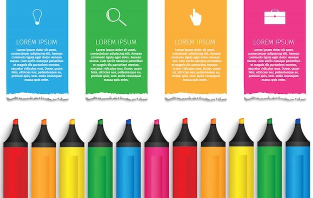 Infographie des marqueurs de l'éducation Vecteur Premium