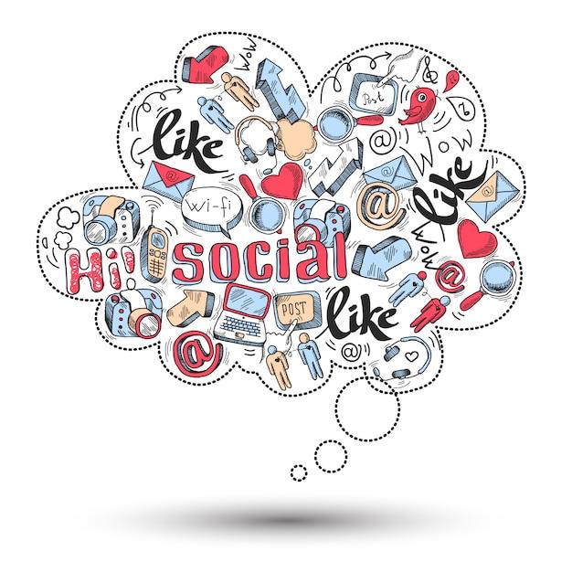 Infographie des médias sociaux doodle Vecteur gratuit