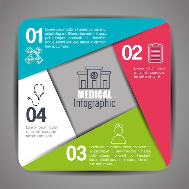 Infographie Médicale à Quatre étapes Vecteur gratuit