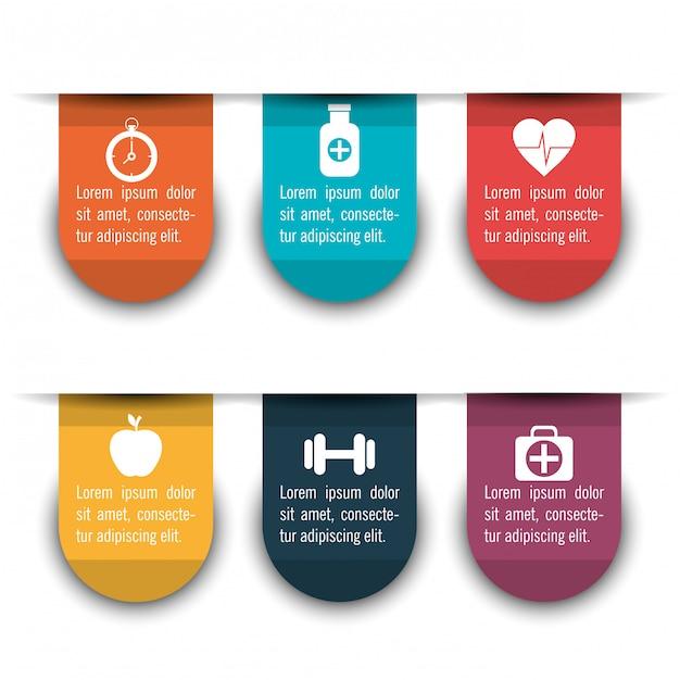 Infographie médicale avec six options Vecteur gratuit