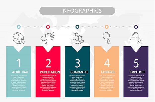 Infographie de modèle avec cinq éléments Vecteur Premium