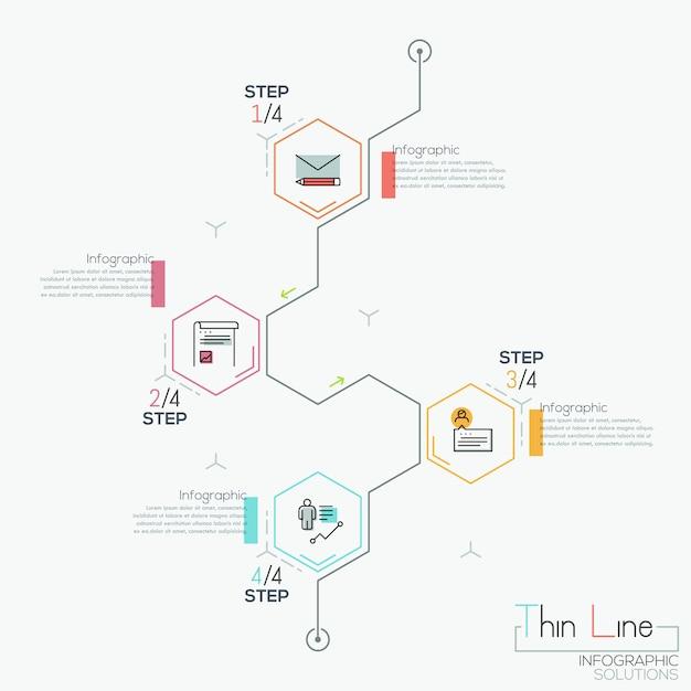 Infographie Moderne Avec 4 éléments Hexagonaux Vecteur Premium