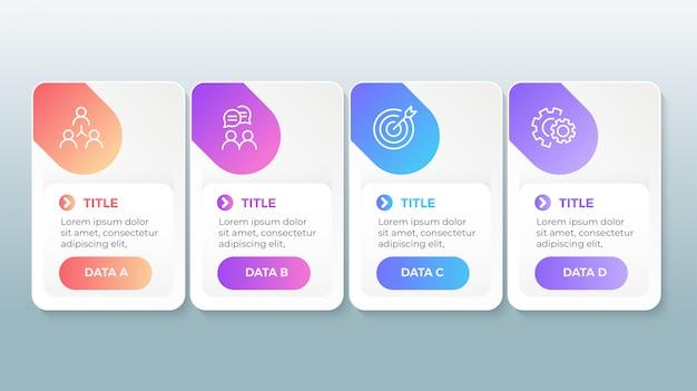 Infographie Moderne Avec 4 étapes D'options Vecteur Premium