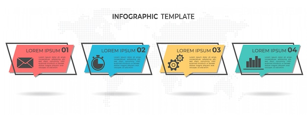 Infographie moderne 4 options. Vecteur Premium