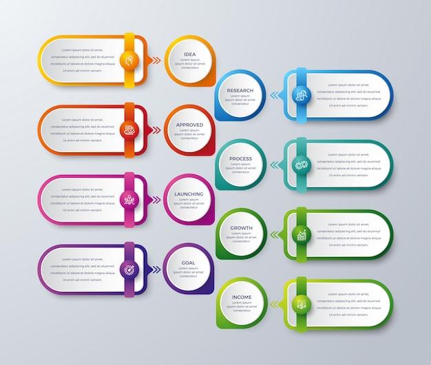 Infographie moderne avec 8 étapes ou processus Vecteur Premium
