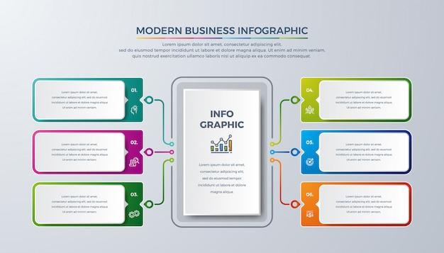 Infographie moderne avec les couleurs vert, violet, orange et bleu Vecteur Premium
