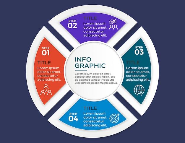 Infographie multicolore avec 4 étapes d'options Vecteur Premium