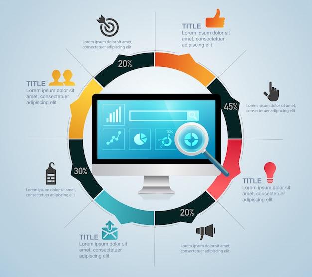 Infographie d'optimisation de moteur de recherche Vecteur Premium