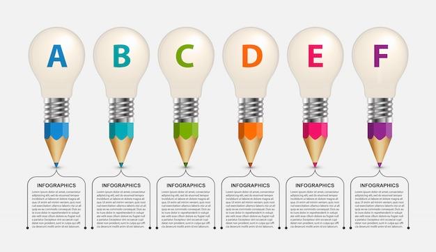 Infographie pédagogique, crayons avec une ampoule en haut. Vecteur Premium