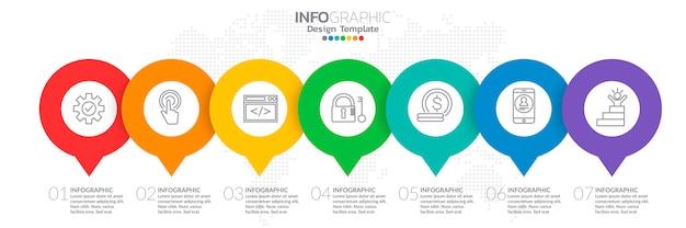 Infographie pour concept d'affaires avec des icônes et 7 options. Vecteur Premium