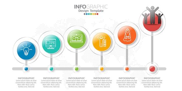 Infographie pour concept d'affaires avec des icônes et des options ou des étapes. Vecteur Premium
