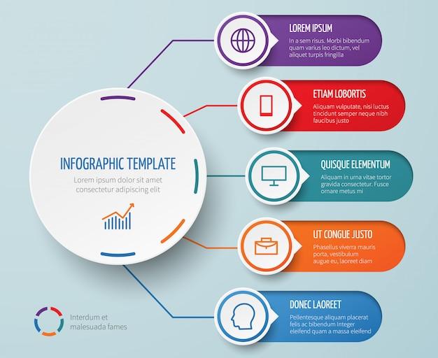 Infographie pour présentation d'affaires avec des éléments circulaires et modèle de vecteur d'options Vecteur Premium