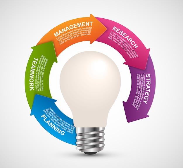 Infographie pour les présentations commerciales. Vecteur Premium