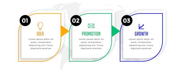 Infographie Professionnelle Moderne Avec Trois étapes Vecteur gratuit